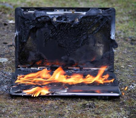 lenovo laptop power cord fire